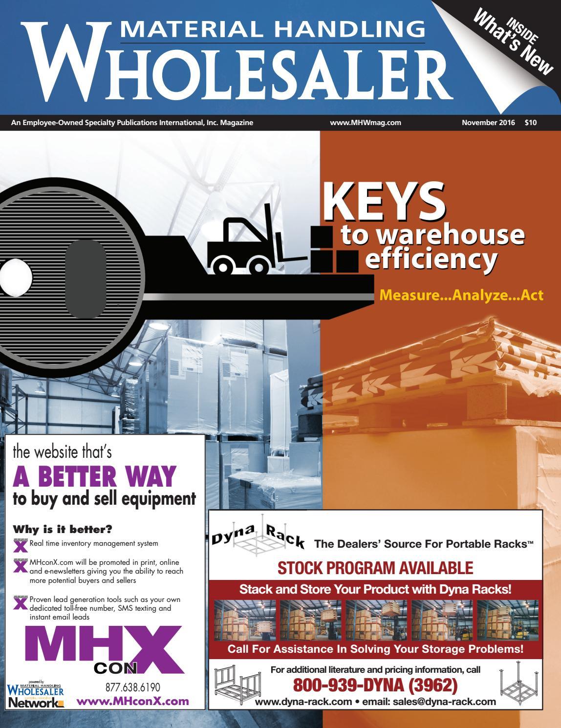 November 2016 Material Handling Wholesaler by Material