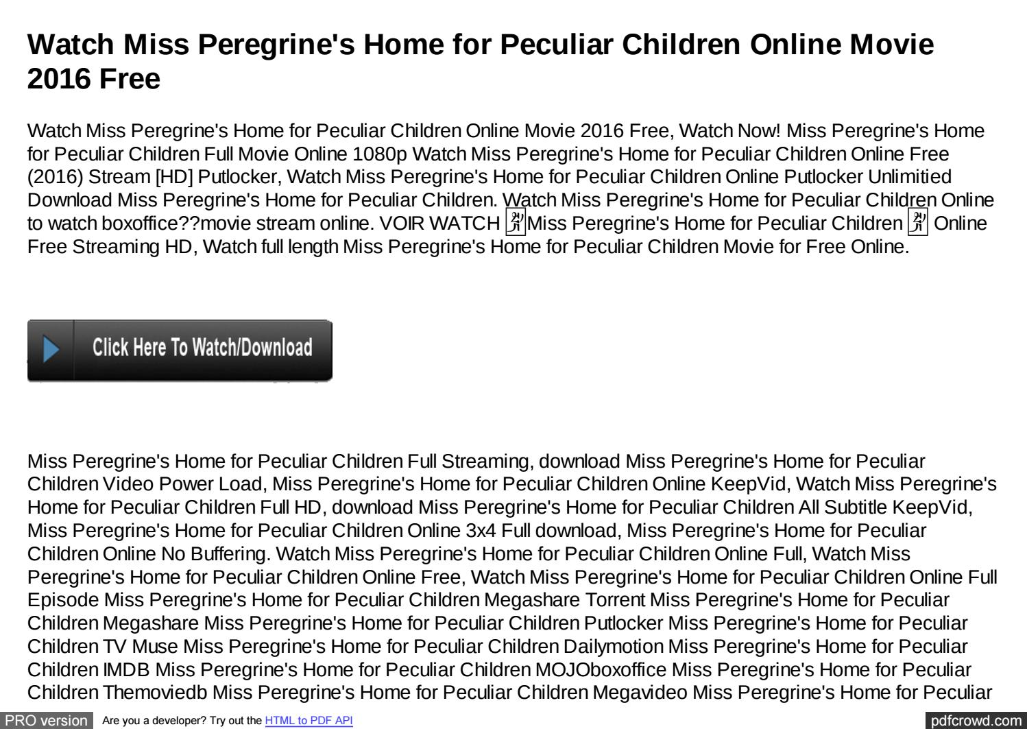 Watch Miss Peregrine S Home Online Putlocker