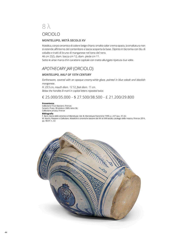 Ceramiche Toscane Montelupo Fiorentino importanti maioliche rinascimentali by pandolfini casa d