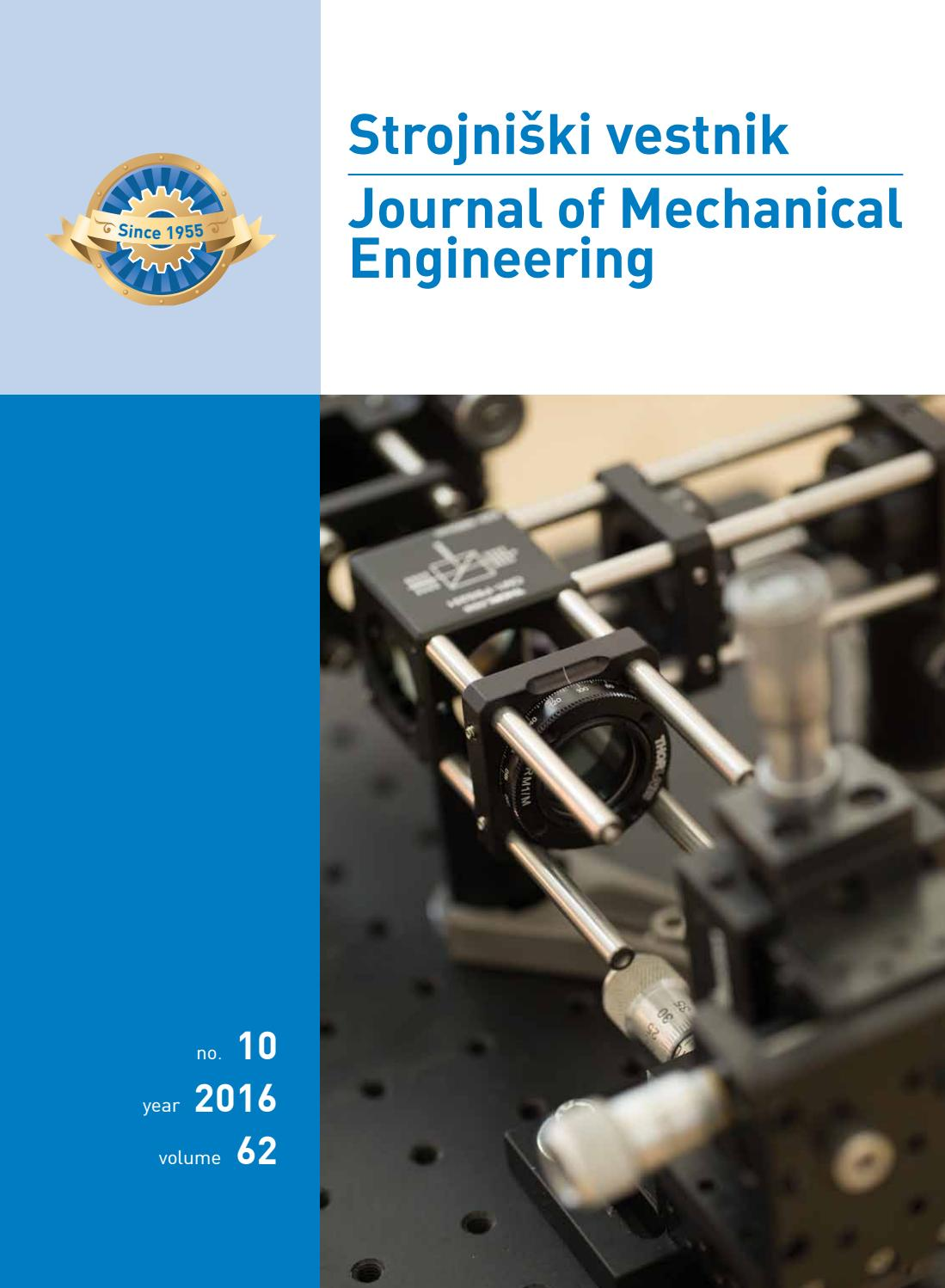 Journal of Mechanical Engineering 2016 10 by Darko Svetak