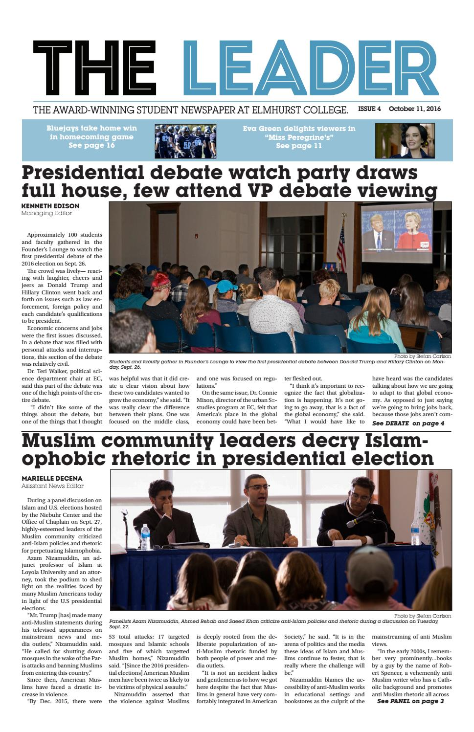 The Leader   October 11, 2016 By Elmhurst College   The Leader   Issuu