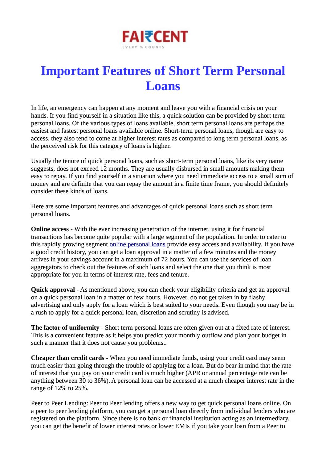 Important features of short term personal loans by faircent issuu solutioingenieria Image collections