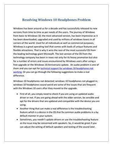 speaker problem after windows 10 update