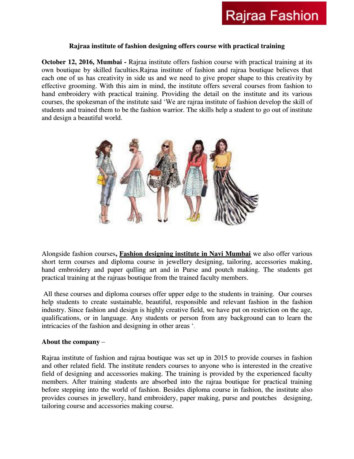 Rajraa Institute Of Fashion Designing Offers Course With Practical Training By Fashionr Issuu