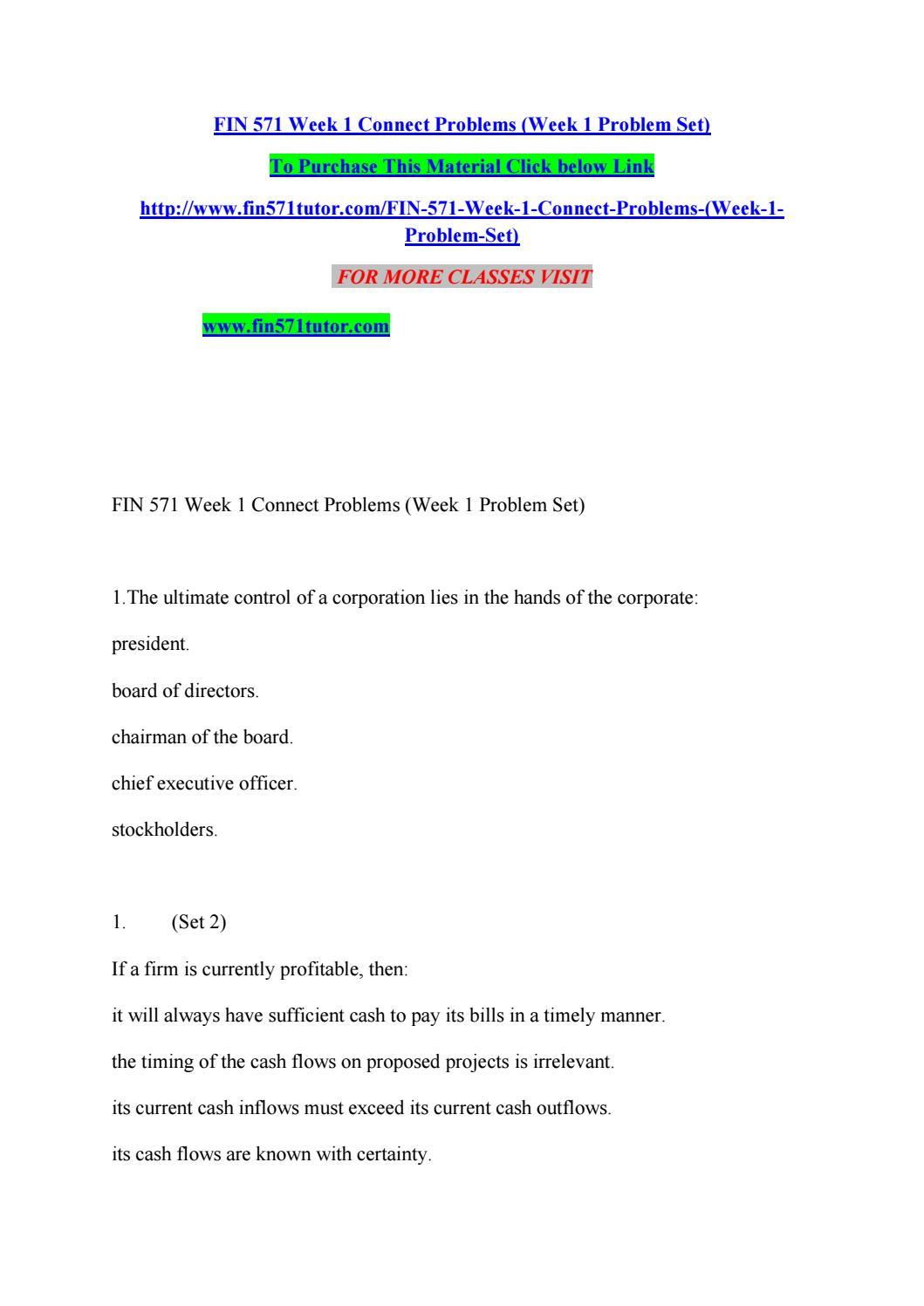 FIN 571 Week 2 Individual Text Problem Sets