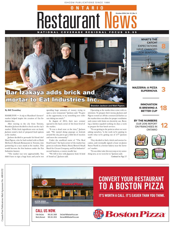 Ontario Restaurant News - October 2016 by Ishcom Publications - issuu