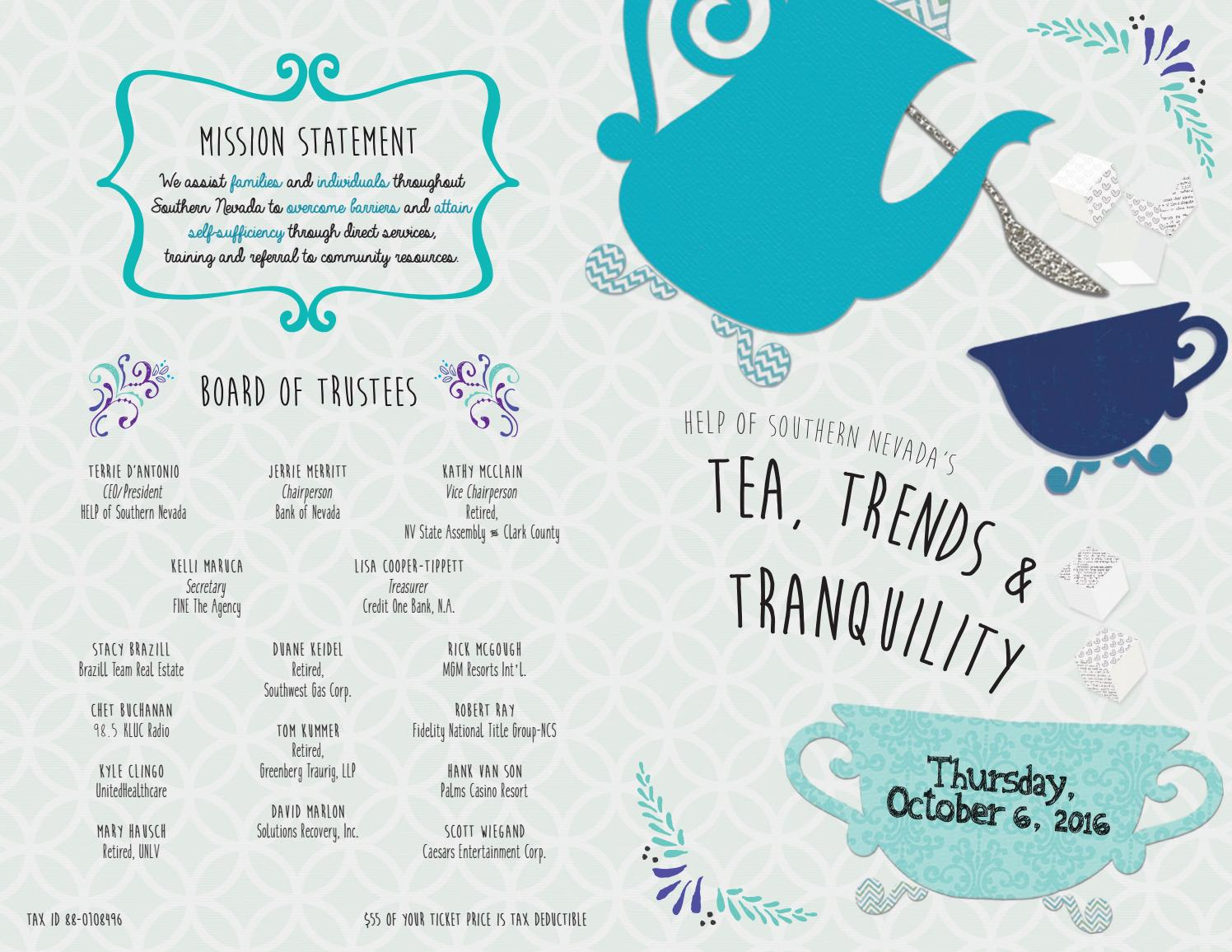 help of southern nevada 2016 tea, trends and tranquility program