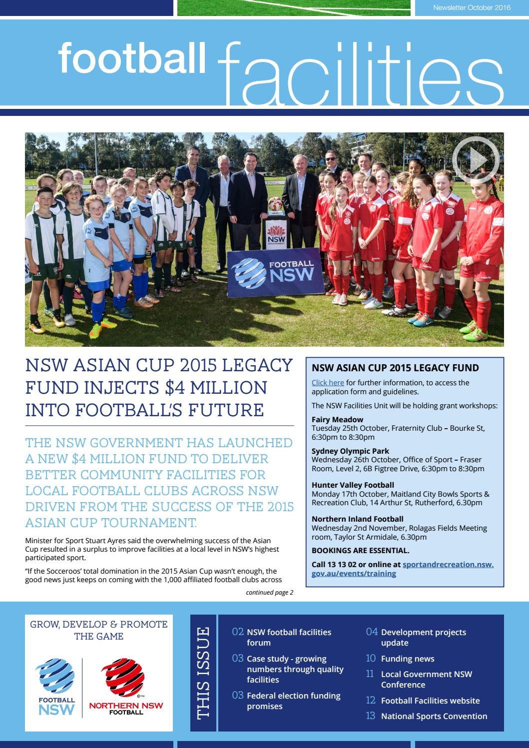 Facilities Newsletter 2 - October 2016 by Football NSW - issuu