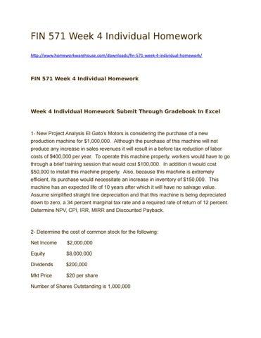 FIN 515 Week 4 Homework Problems