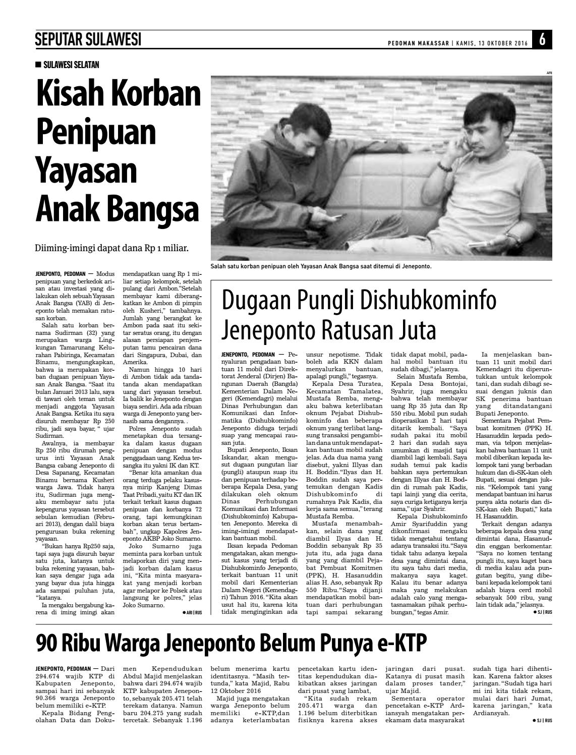 Edisi 70 13 Oktober 2016 Pedoman Makassar By Pedoman Makassar