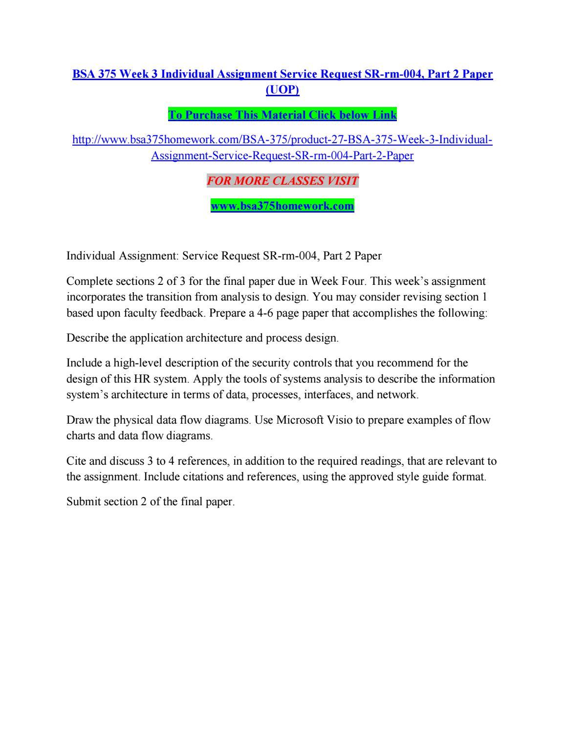 Bsa 375 week 3 individual assignment service request sr rm