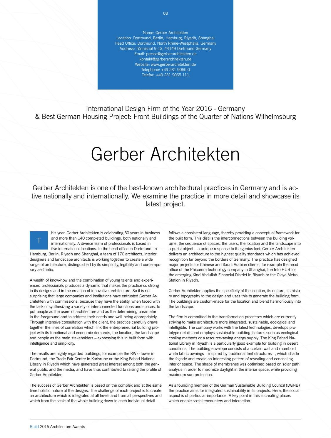 2016 Build Architecture Awards By Ai Global Media Issuu