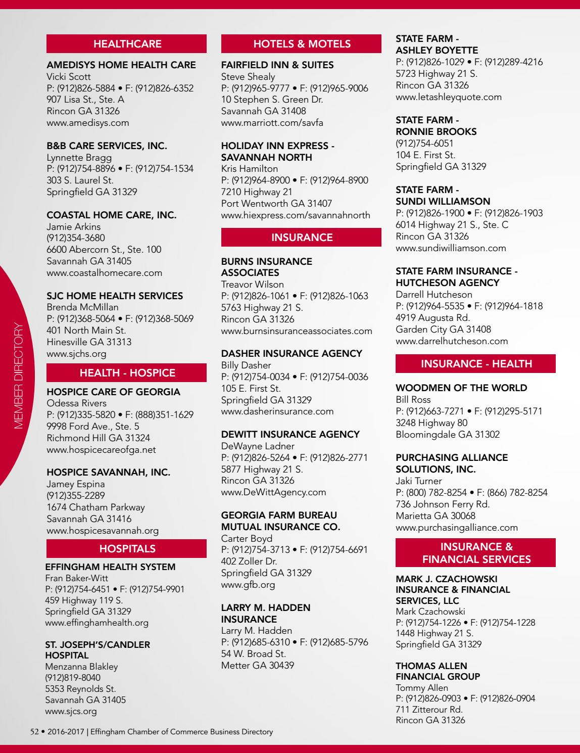 Chamber Directory 2016 2017 By Effingham Herald Rincon Ga