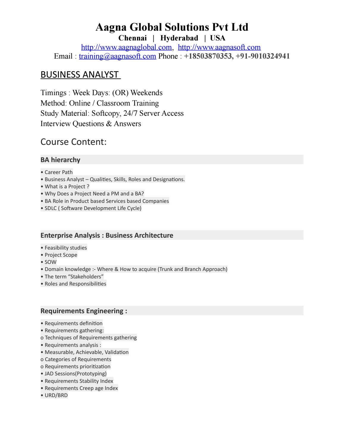 Business analyst courses content by aagnasoft2 - issuu