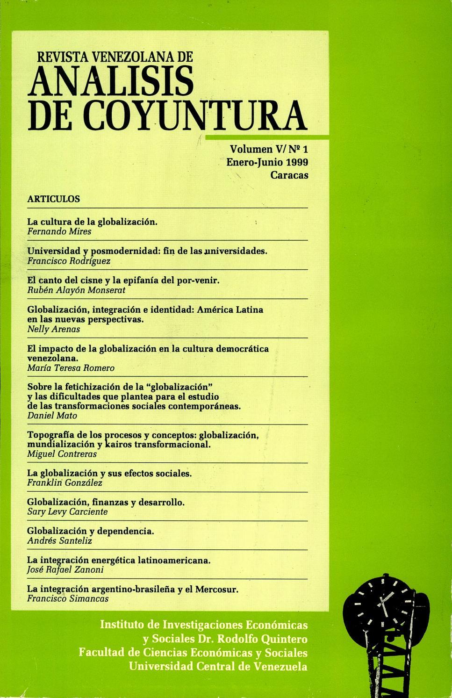 Revista Venezolana de Análisis De Coyuntura. Volumen V nº1 enero ...