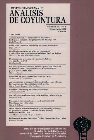 Revista Venezolana De Análisis De Coyuntura Volumen Viii Nº 1 Enero