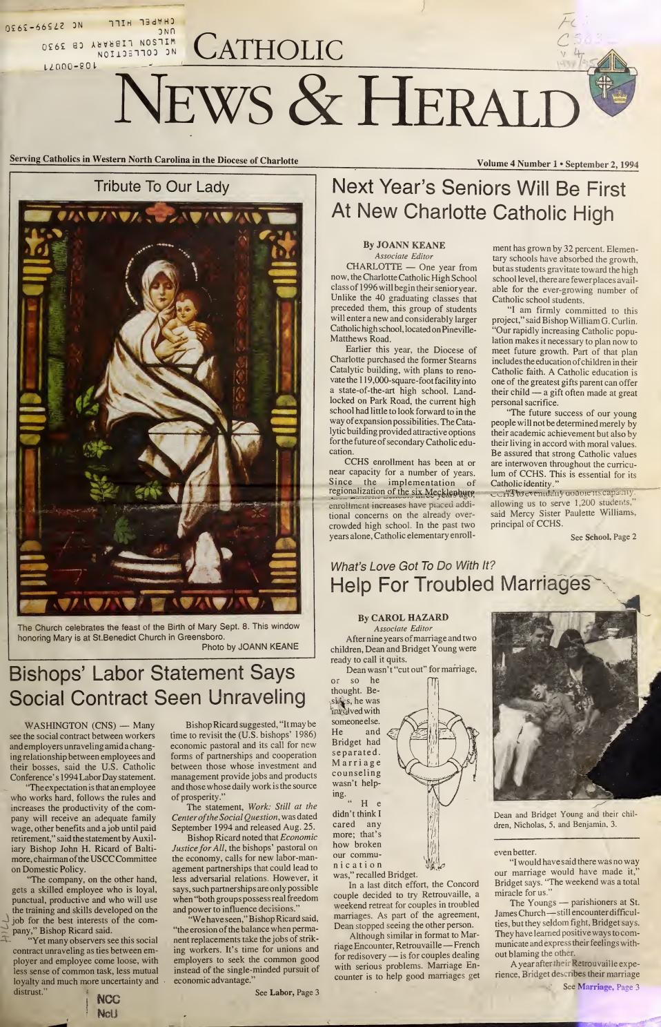They Helped Make History At 1709 Monroe >> Sept 2 1994 By Catholic News Herald Issuu