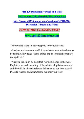 Phi 220 Discussion Virtues And Vices By Manu36 Issuu