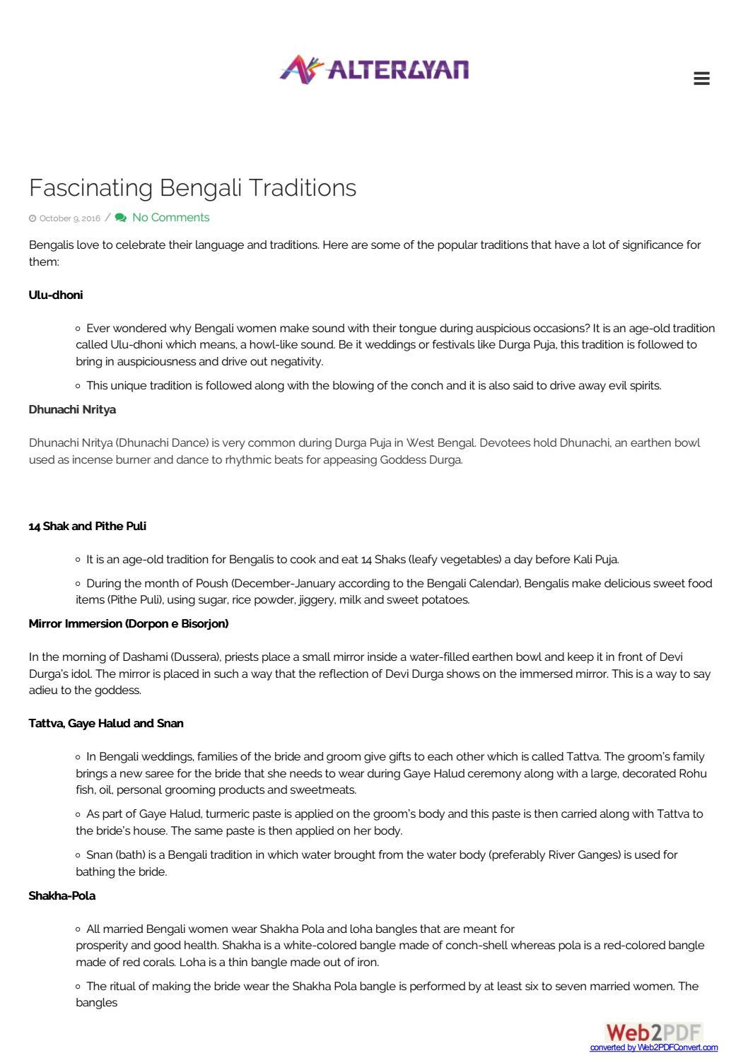 Fascinating bengali traditions