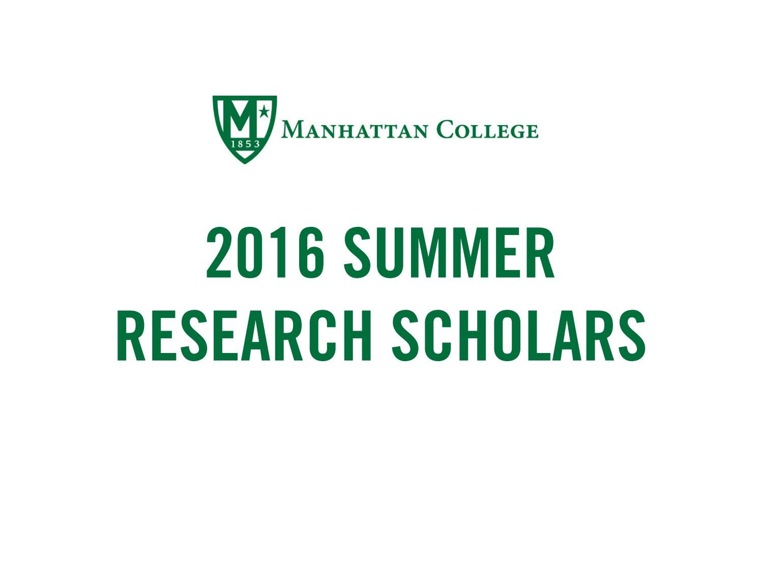 Summer research scholars 2016 by manhattan college issuu fandeluxe Choice Image