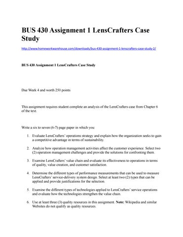 Buy research papers online cheap bus430 assignment 1 lenscrafters case study