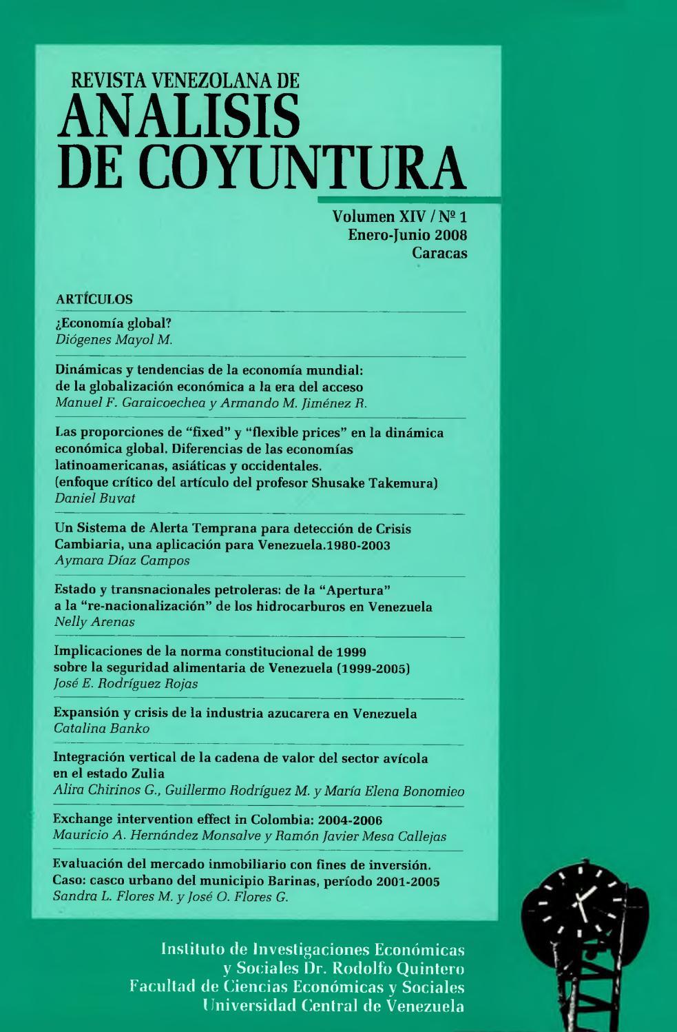 7b493b3762 Revista Venezolana de Análisis De Coyuntura. Volumen XIV Nº 1 enero-junio  2008 by Instituto de Investigaciones Económicas y Sociales Dr.