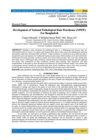 Development of National Pathological Data Warehouse (NPDW) For