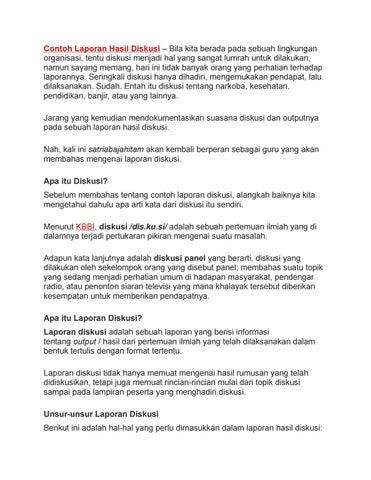 Contoh Laporan Hasil Diskusi Secara Lengkap Singkat Padat Jelas By Mulkan Fauzi Issuu
