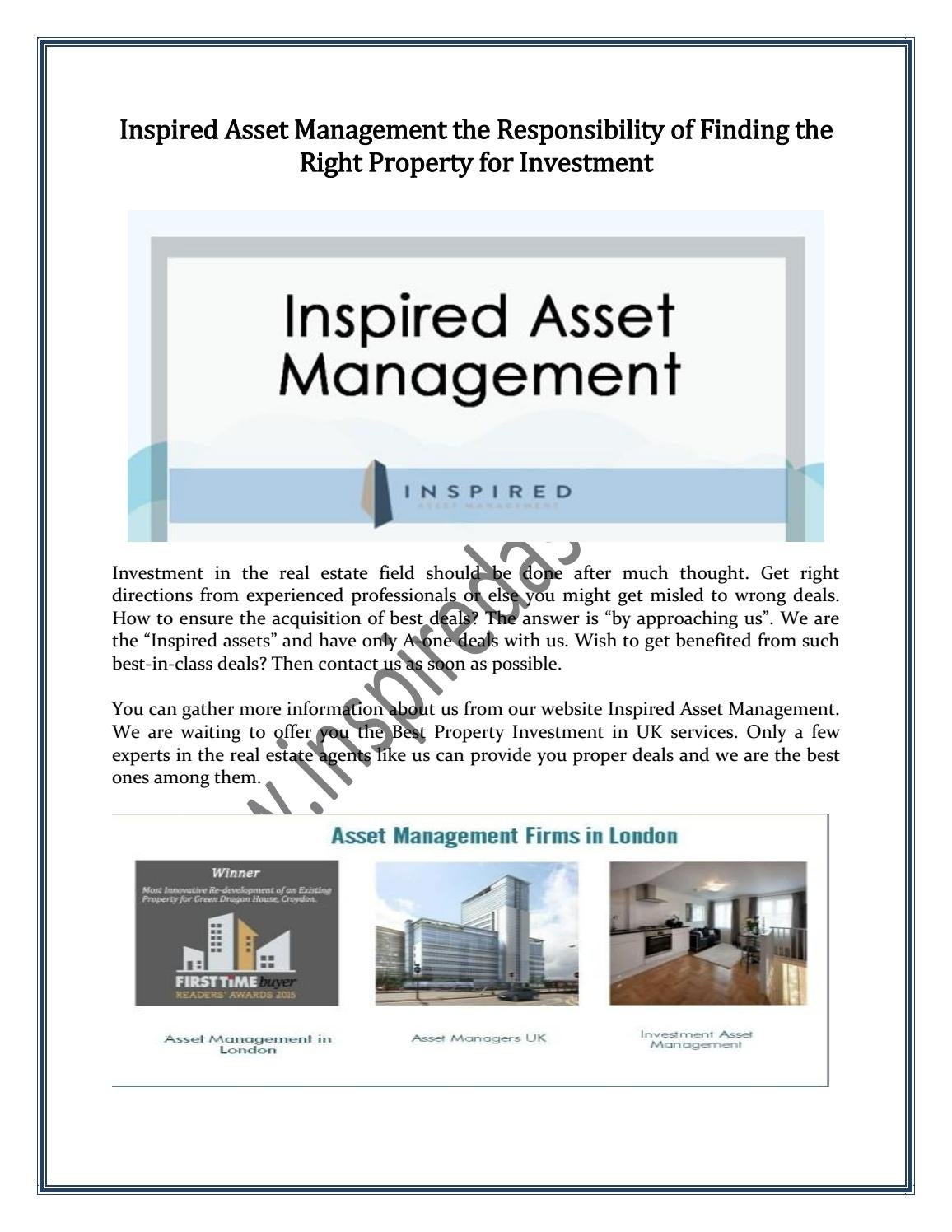 Inspired Asset Management the Responsibility of Finding the Right