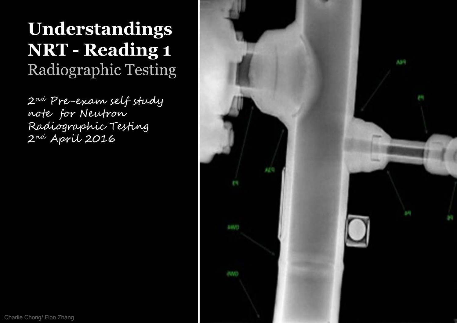 Understanding nrt reading 1 1 of 2 radiogaphic testing a by