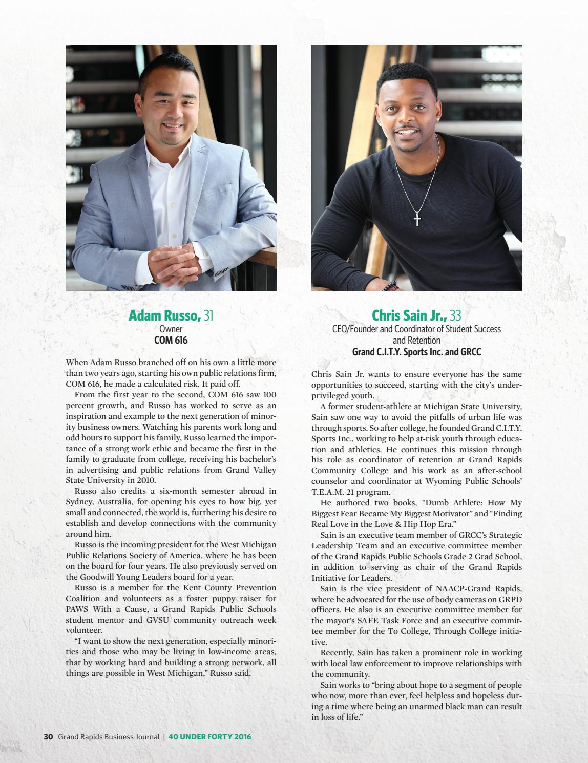 Adam Russo 40 under forty - 2016 - grand rapids business journal