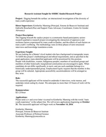 Research assistant sought for sshrc 2016 by Gabbrielle - issuu