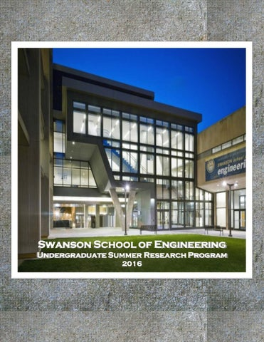 Swanson School of Engineering Undergraduate Summer Research