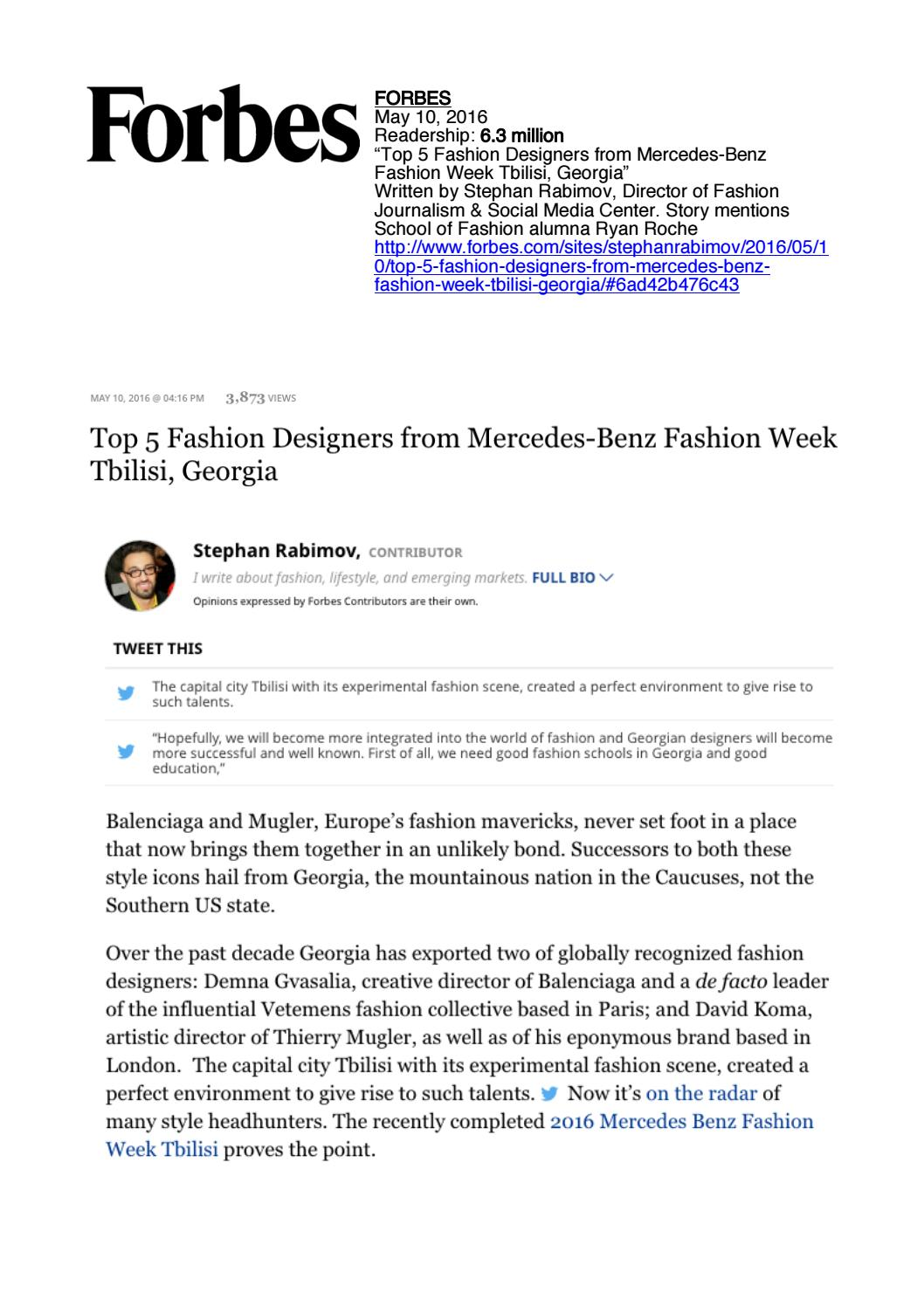 05 10 2016 Forbes by Academy Of Art University School of Fashion - issuu