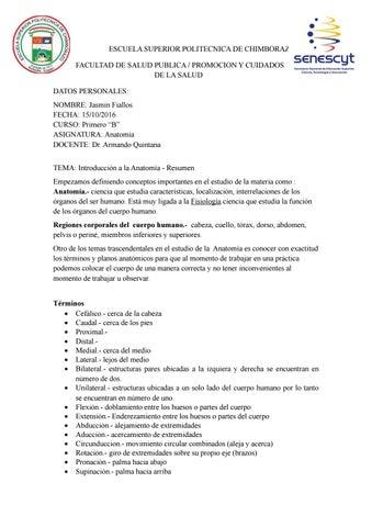 Introduccion de la anatomia - resumen by Jazz Fiallos - issuu