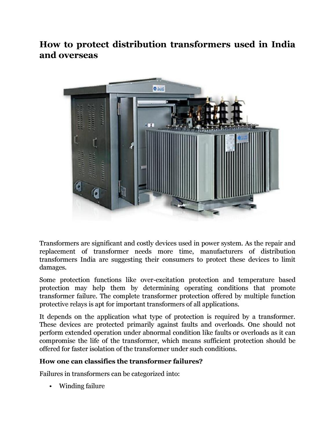 How to protect distribution transformers used in india and