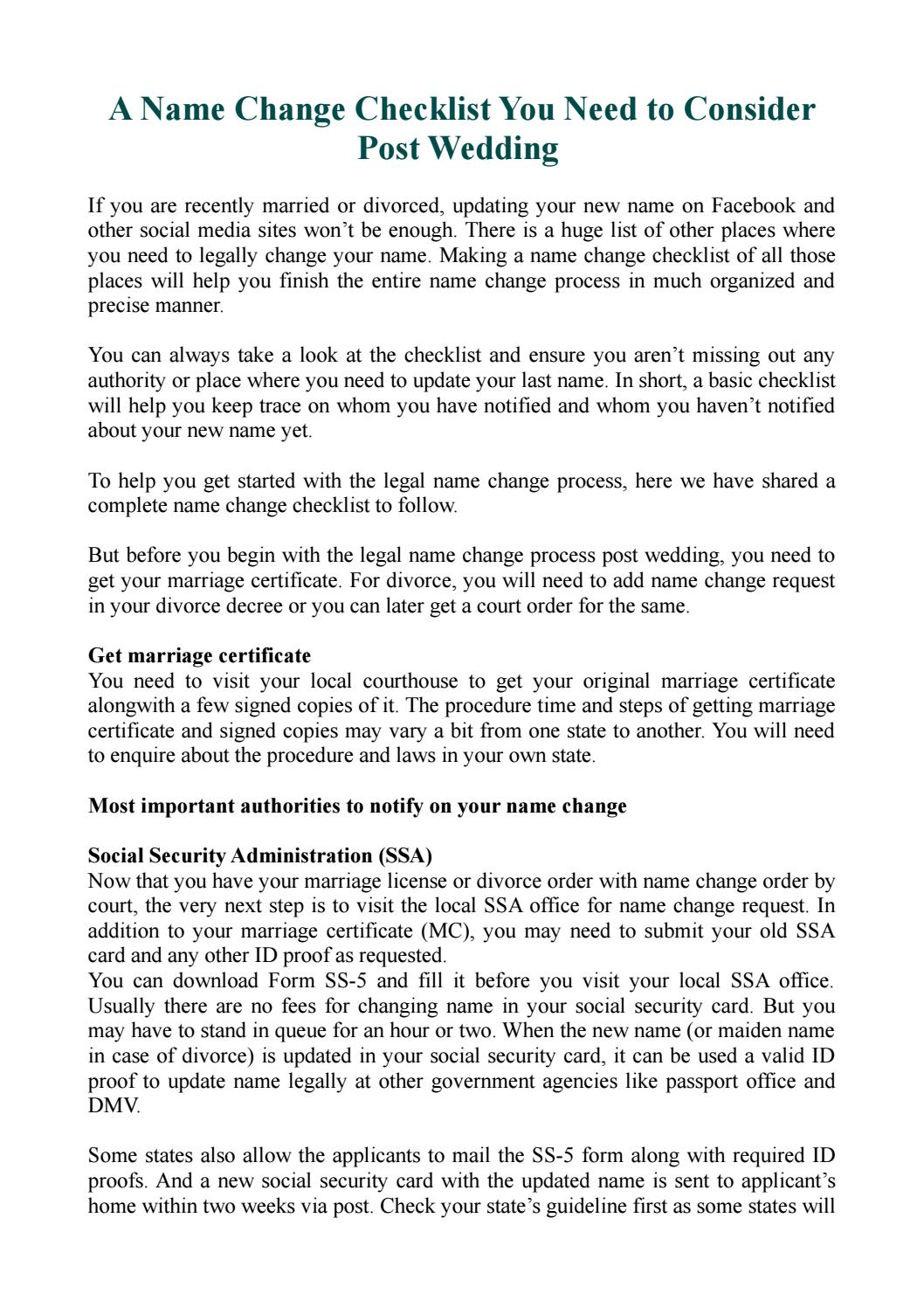 A Name Change Checklist You Need To Consider Post Wedding By HitchSwitch    Issuu