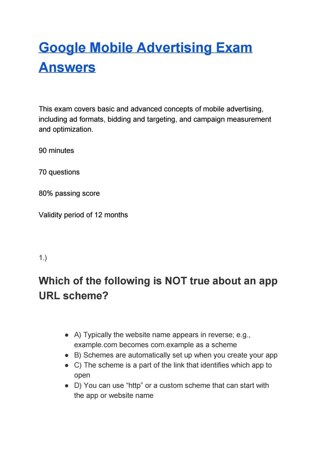 Google Mobile Advertising Exam Answers By Certificationanswers Issuu