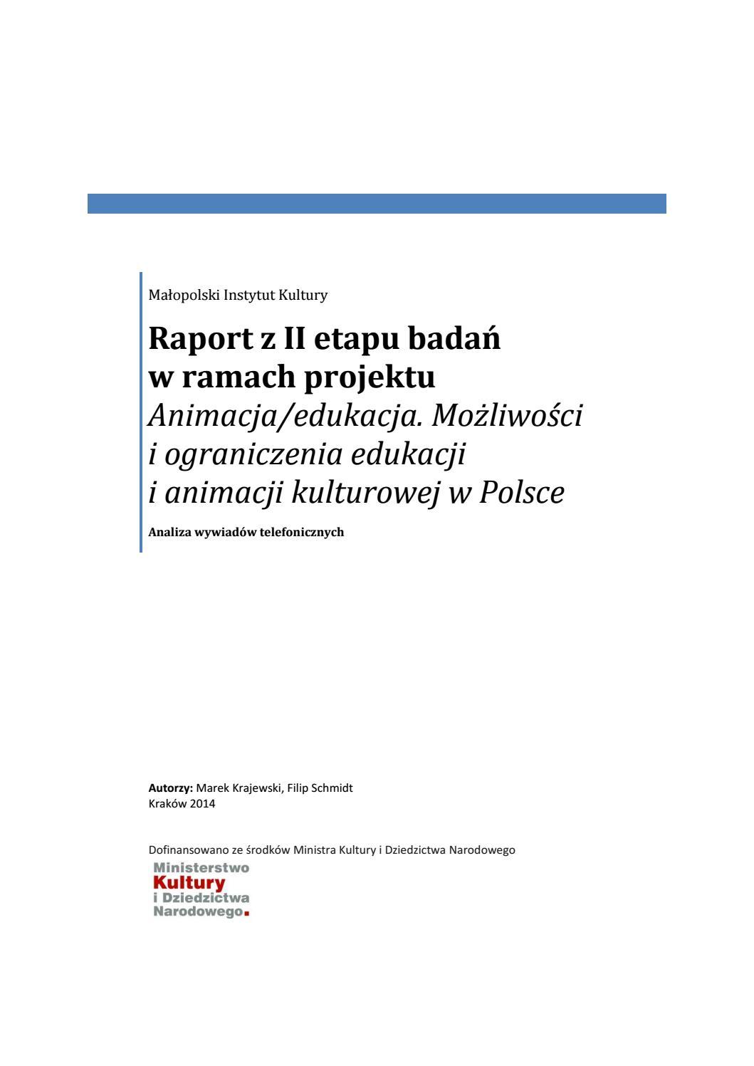 Animacja Edukacja Raport Ii Etap Analiza Wywiadów Telefonicznych By