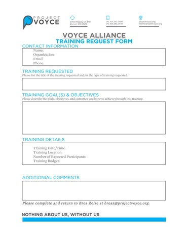Voyce Alliance Training Request Form  By Project Voyce  Issuu