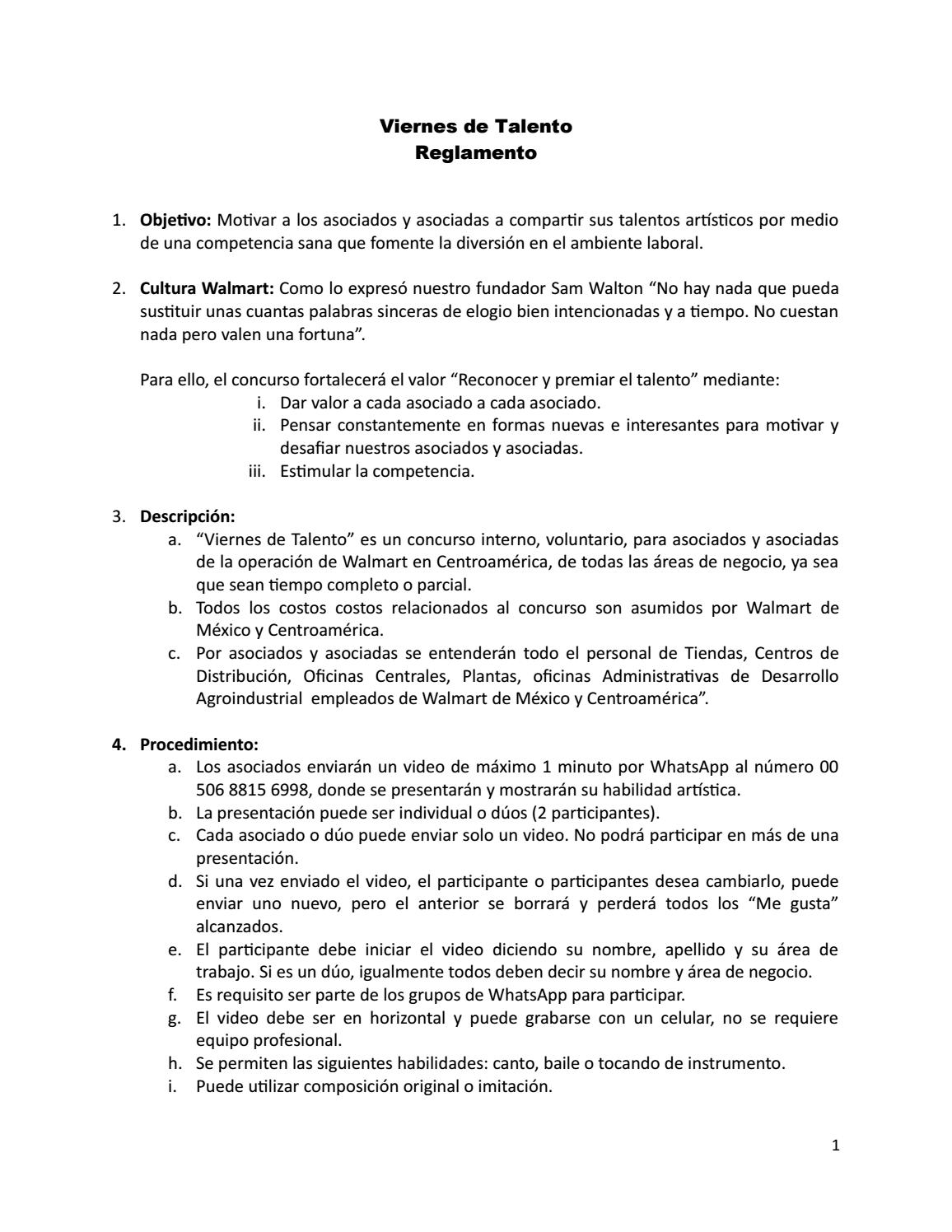 Reglamento interno walmart