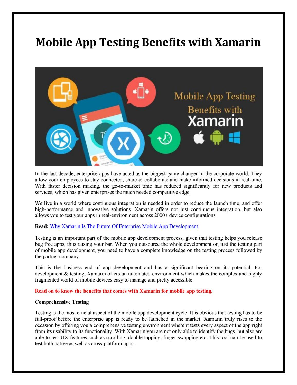 Mobile app testing benefits with xamarin by Scarlett Lee - issuu