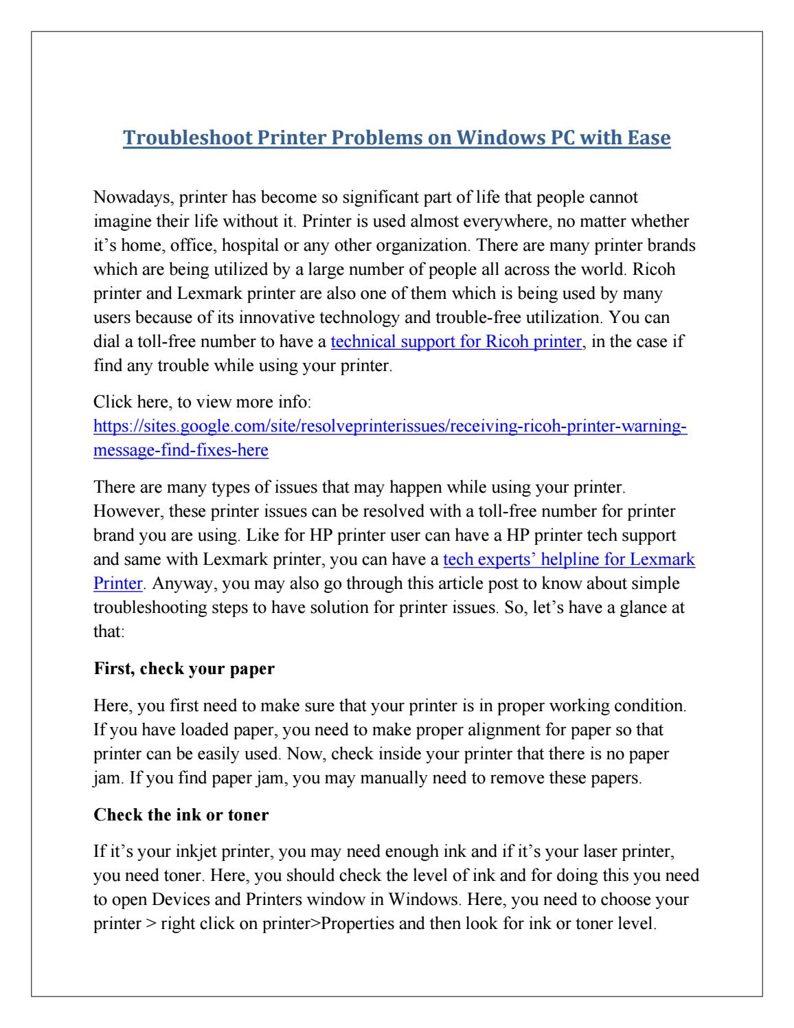 Troubleshoot printer problems on windows pc with ease by Printers