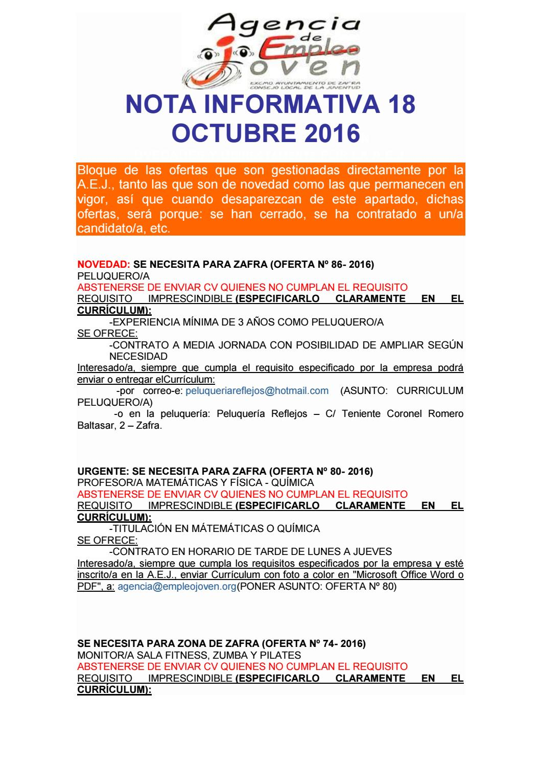 Nota informativa 18 octubre, EMPLEO, BECAS, CURSOS,... by Segura Al ...