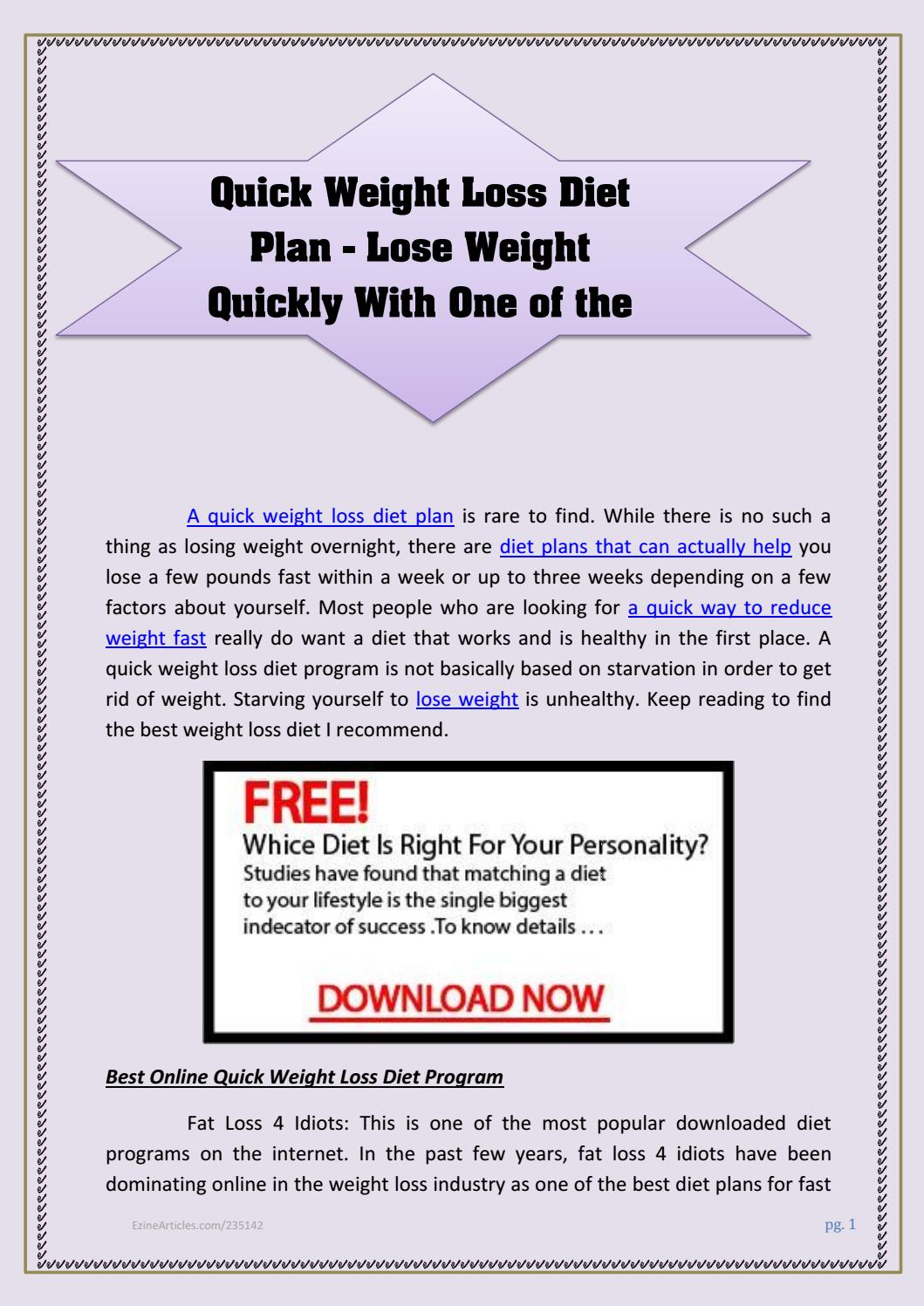 Weight plans to fast diet lose top