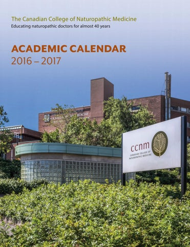 CCNM Academic Calendar 2016 2017 by Canadian College of