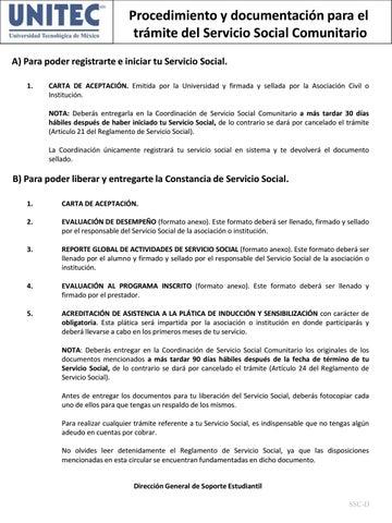 Procedimiento Y Documentaci 243 N Para El Servicio Social