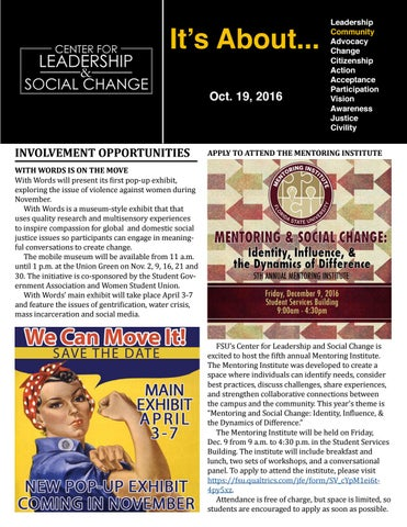 10.19.16 by The Center for Leadership & Social Change issuu