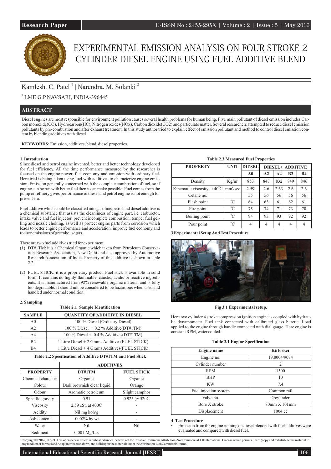 EXPERIMENTAL EMISSION ANALYSIS ON FOUR STROKE 2 CYLINDER