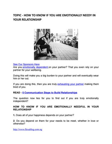 How to know if you are emotionally needy in your relationship by
